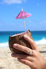 Coconut drink with mermaid tail ring