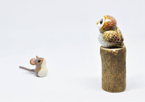 Polymer clay owl and mouse
