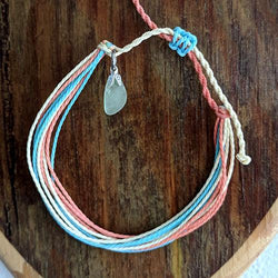 Beach String Bracelet with Sea Glass Charm - Soul Shells