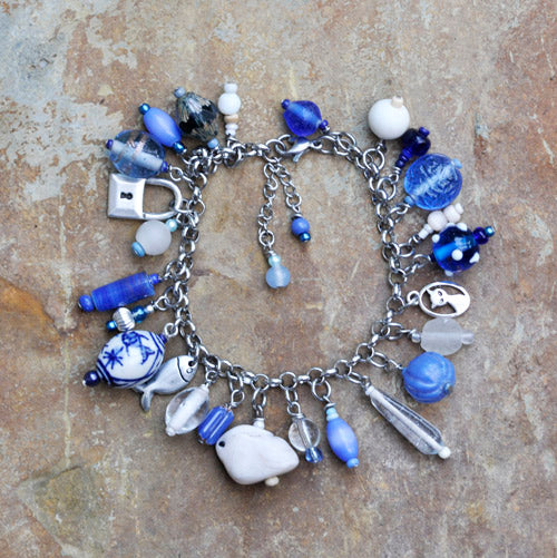 Blue Glass Charm Bracelet with Polymer Clay Arctic Hare - Soul Shells