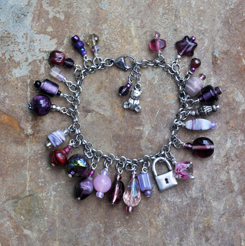 Purple Glass Charm Bracelet with Padlock Charm - Soul Shells