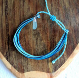 Ocean Blue String Bracelet with Sea Glass Charm - Soul Shells