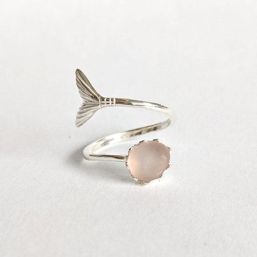 Silver Mermaid Tail 6mm Ring with Pink Sea Glass - Soul Shells