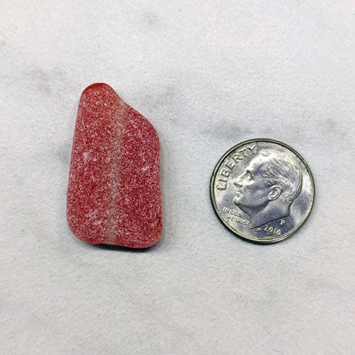 Red Sea Glass with White Stripe - Soul Shells