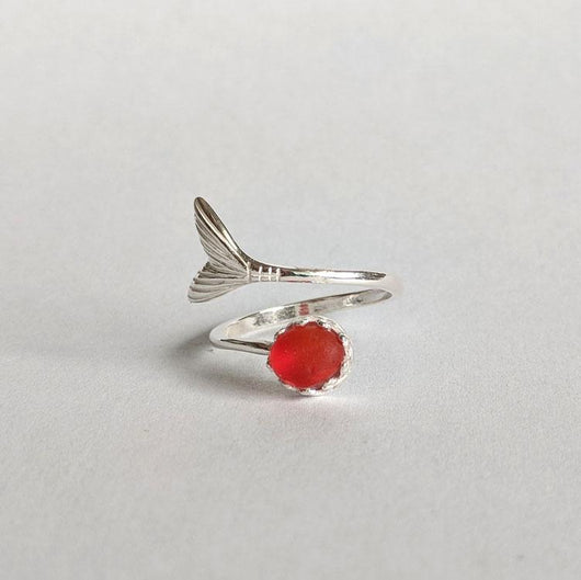 Sterling Silver 6mm Mermaid Tail Ring with Red Sea Glass - Soul Shells