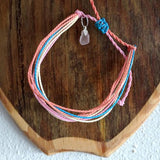 Tropical String Bracelet with Sea Glass Charm - Soul Shells
