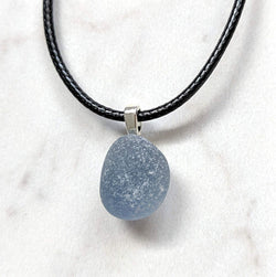 Blue-Gray Sea Glass Pendant - Soul Shells