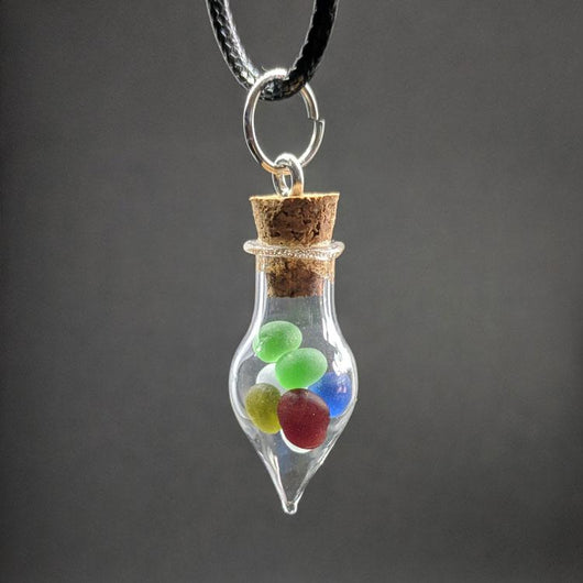 Teardrop Glass Bottle Necklace Filled with Sea Glass - Soul Shells