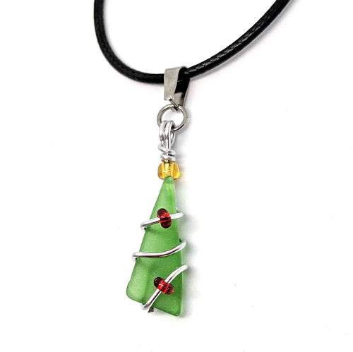 Sea Glass Christmas Tree Pendant - Soul Shells