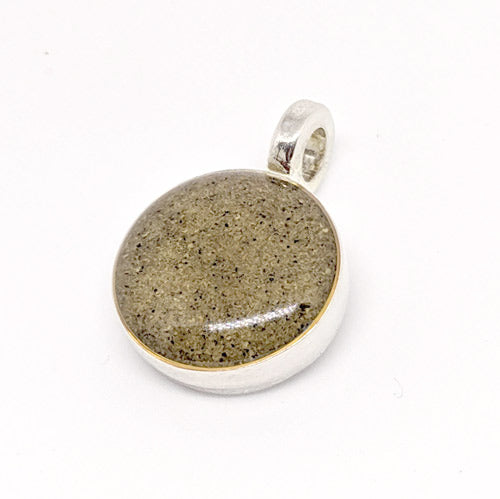Silver Plated Circle Charm with Beach Sand from The Golden Isles - Soul Shells