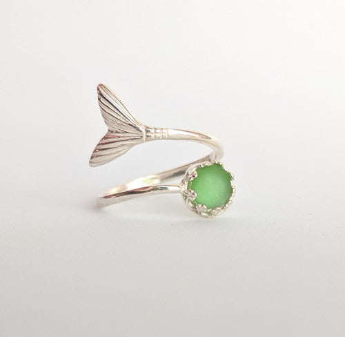 Emerald Green Sea Glass Mermaid Tail Ring - Soul Shells