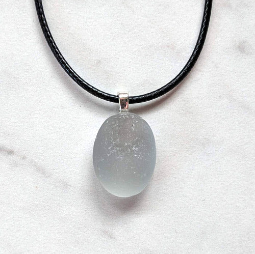 Gray Sea Glass Pendant - Soul Shells
