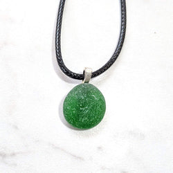 Bright Green Surf Tumbled English Sea Glass Pendant - Soul Shells