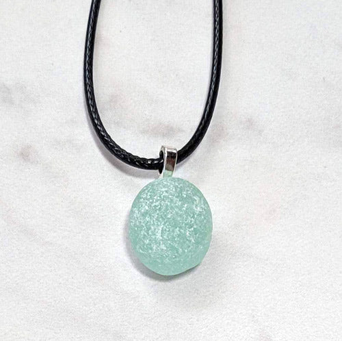 Aqua Genuine English Sea Glass Pendant - Soul Shells