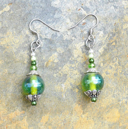 Green Glass Bead Earrings - Soul Shells
