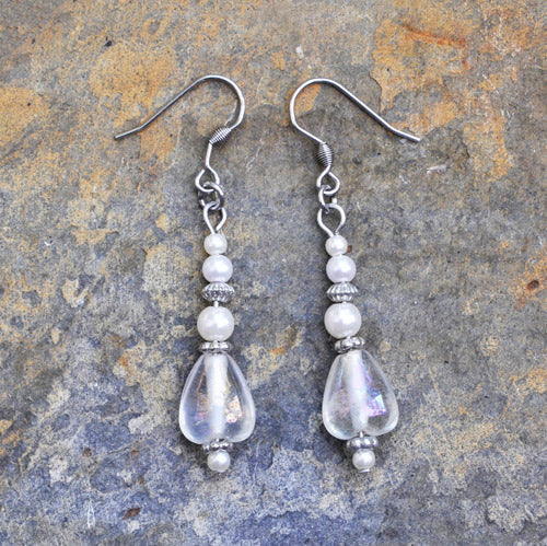 White Glass and Pearl Earrings - Soul Shells