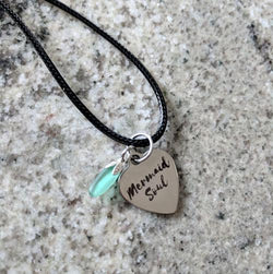 Mermaid Soul Heart Necklace with Sea Glass Charm - Soul Shells
