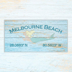 Personalized Beachside Sign with Latitude and Longitude on Canvas - 12x24 - Soul Shells