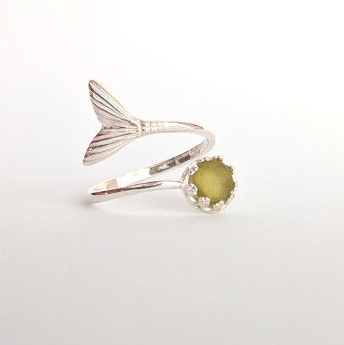 Olive Green Sea Glass Mermaid Tail Ring - Soul Shells