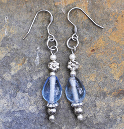 Blue Glass Glass and Pearl Bead Earrings - Soul Shells