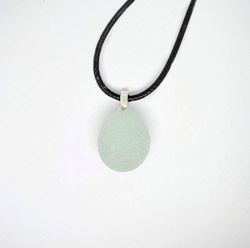 Pale Green Surf Tumbled English Sea Glass Pendant - Soul Shells
