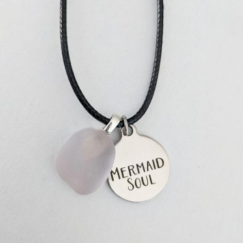 Pale Pink Sea Glass Pendant with Mermaid Soul Charm - Soul Shells