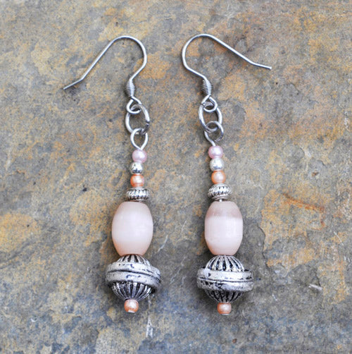 Pink Glass and Pearl Bead Earrings - Soul Shells