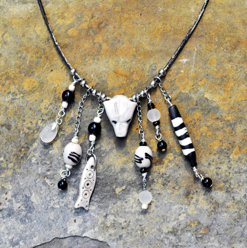 Polymer Clay Polar Bear Tribal Necklace - Soul Shells