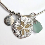 Bangle Bracelet - Sterling Silver Sand Dollar Charm with Sea Glass - Soul Shells