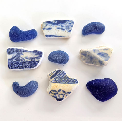 Blue and white Beach Tiles and Blue Sea Glass - Soul Shells
