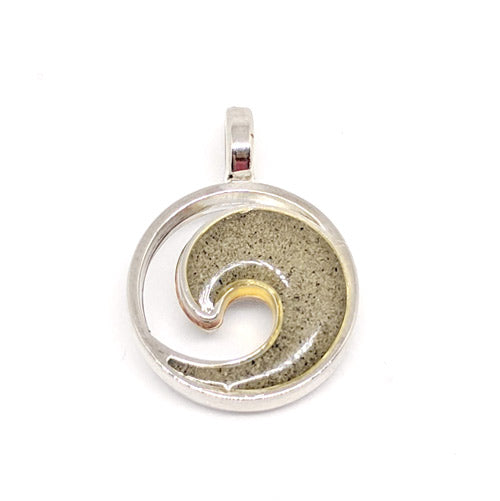 Silver Plated Wave Charm with Beach Sand from Satellite Beach - Soul Shells