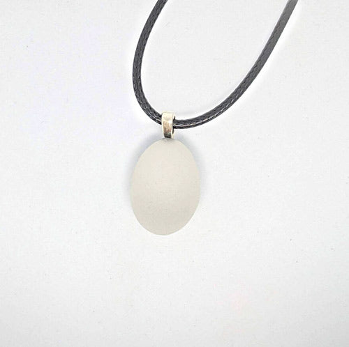 White Genuine English Sea Glass Pendant - Soul Shells