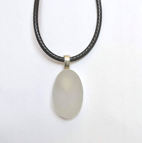 White Oval Genuine English Sea Glass Pendant - Soul Shells