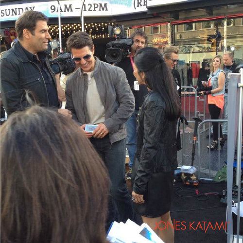 Tom Cruise on the red carpet with his Jones Katami gift.