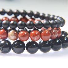 Onyx, Red River Jasper and Black Obsidian.