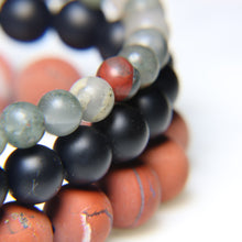 Matte Red River Jasper, Black Onyx and African Bloodstone