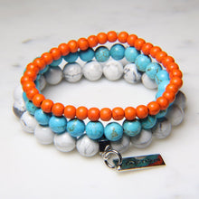 Orange Howlite, Turquoise Howlite and White Howlite.