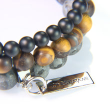 Onyx, Matte Tiger Eye and Matte Labroadorite.