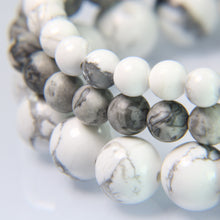 White Howlite, Gray Crazy Leaf Agate and White Howlite