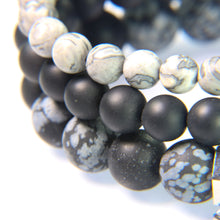 Crazy Lace Agate, Onyx and Matte Snowflake Obsidian.