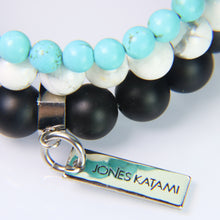Turquoise Howlite, White Howlite and Black Onyx.