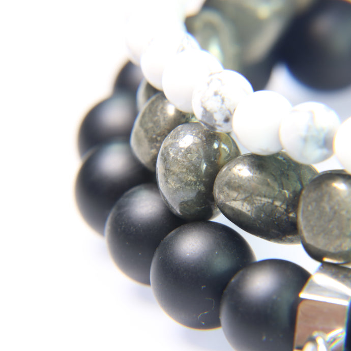 NEW! White Howlite, Pebble Hematite and Black Onyx