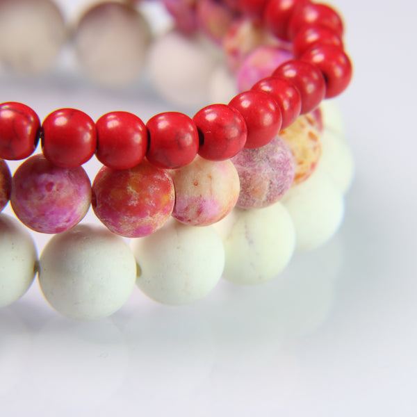NEW! Red Howlite, Pink Sediment Jasper and Cream Howlite