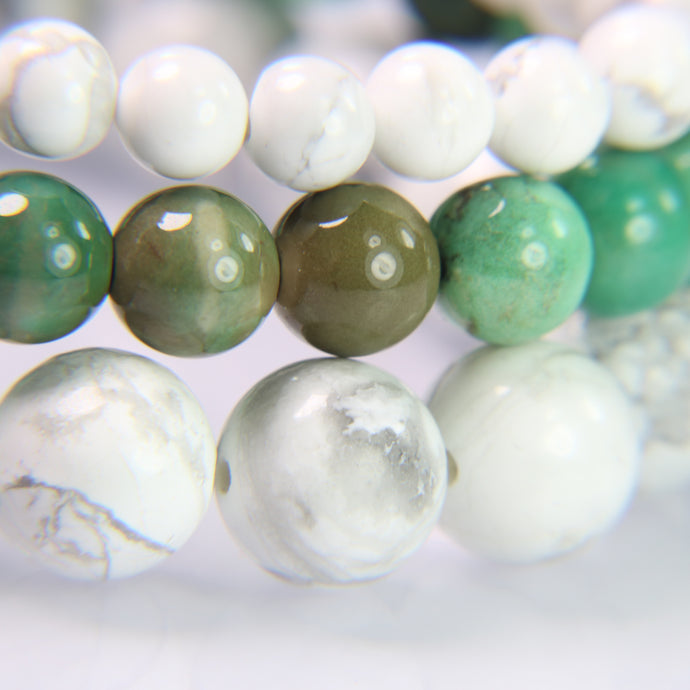 NEW! White Howlite, Green Chrysoprase, White Howlite