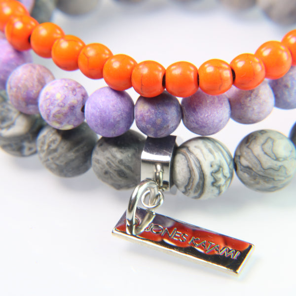 NEW! Orange Howlite, Purple Sediment Jasper and Gray Crazy Lace