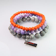 Orange Howlite, Purple Sediment Jasper and Gray Crazy Lace