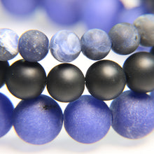 NEW! - Sodalite, Matte Black Onyx and Cobalt Blue Agate