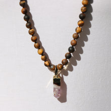 NEW! Amethyst Crystal Pendant on Matte Tiger Eye