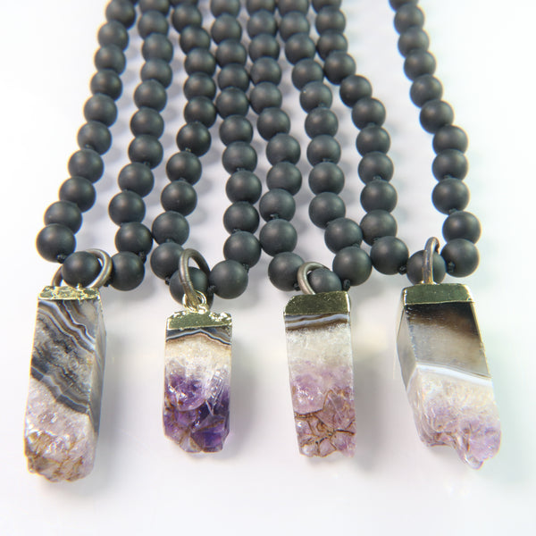 NEW! Amethyst Crystal on Matte Black Onyx