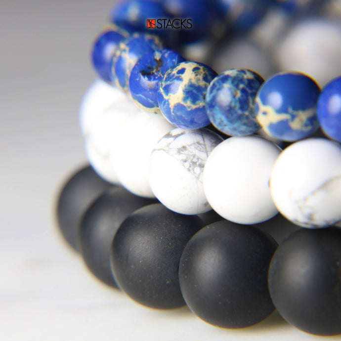 Blue Sediment Jasper, White Howlite and Black Onyx .